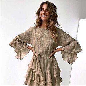 Bell Sleeves Ruffle Swing Mini Dress